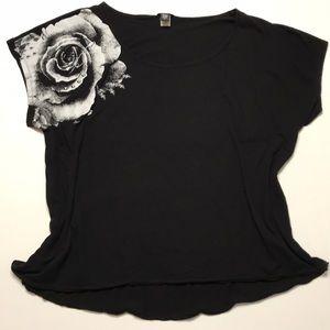 Torrid Black Rose Shredded Back Tee 3XL